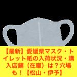 【最新】愛媛県マスク・トイレット紙の入荷状況・購入店舗(在庫)は?穴場も!【松山・伊予】